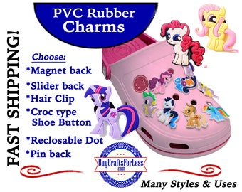 PVC Charms, The Ponies * 20% OFF Any 4 PvC Charms+ShipFREE *Choose back-Button, Pin, Slider, Hair Clip, Reclosable Dot, Magnet