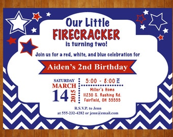 Patriotic Birthday Invitation Red, White, and Two Birthday Invitation digital Printable Red, White, and Blue 4th of July 4x6 or 5x7