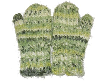 Youth Small Green Mittens Wool and Acrylic Blend