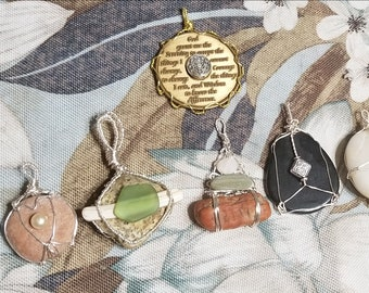 All natural, rescued river stone pendants
