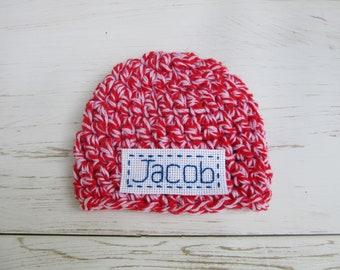 Personalized Hat Baby Boy, Infant Hospital Hat, Baby Boy Beanie, Baby Boy Cap, Red and White Striped Baby Boy Hat, Newborn Boy Beanie