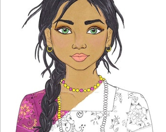 Fashion Coloring Page - India Coloring Page - Indian Girl Coloring Page - Printable Coloring Page  - Adult Coloring Page