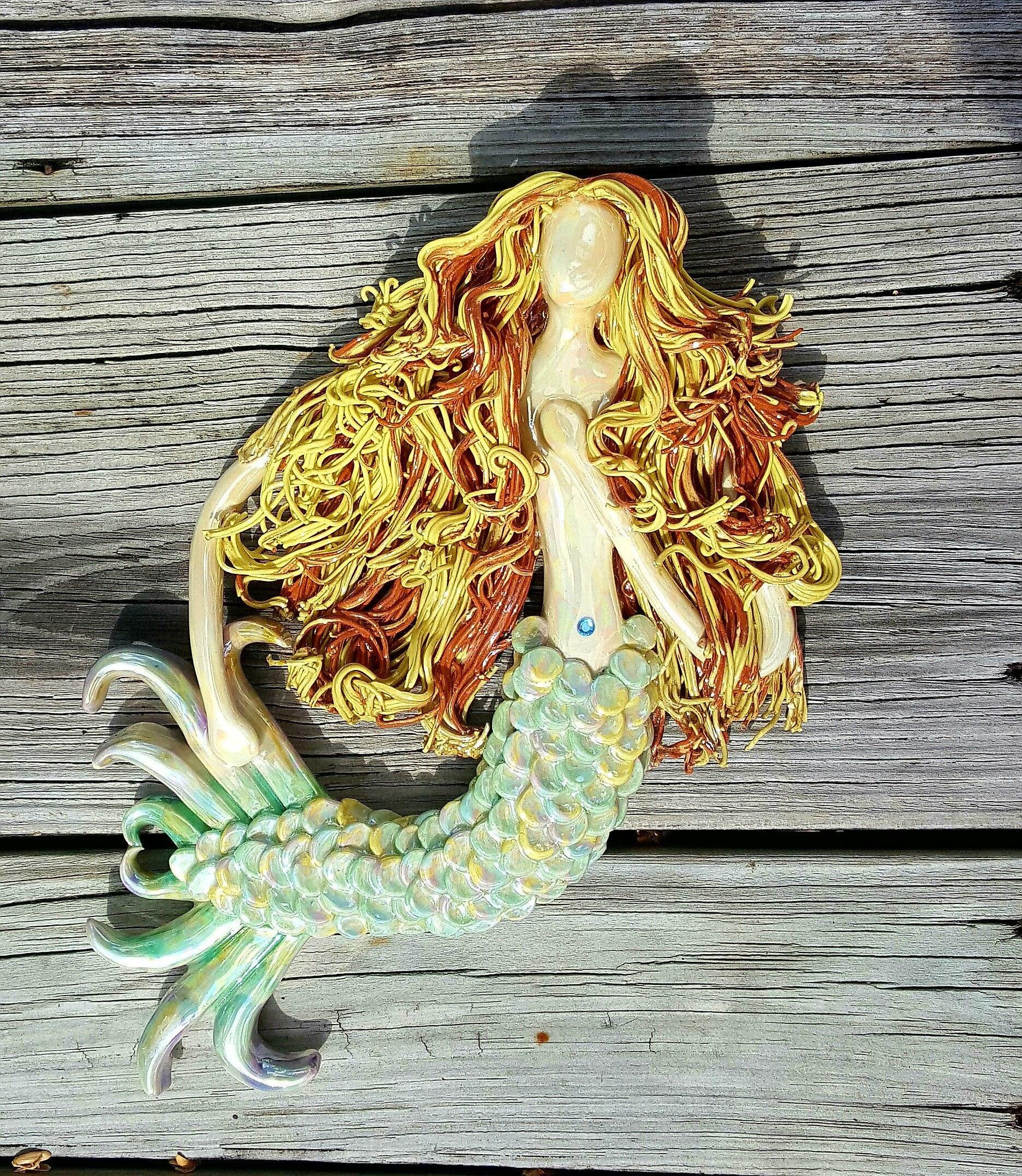 Golden haired Mermaid Wall Sculpture