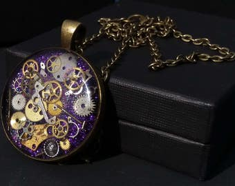 Timeless Purple Steampunk Pendant