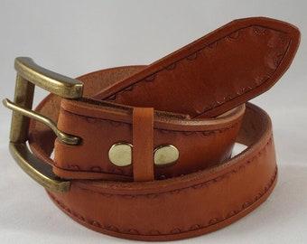 Hand Tooled Leather Belt - Tan