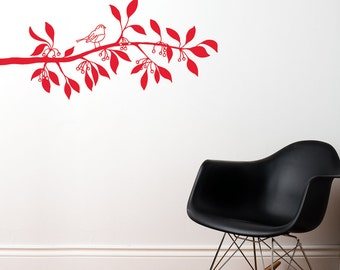 Ramatuelle - Branch with bird wall decal - red
