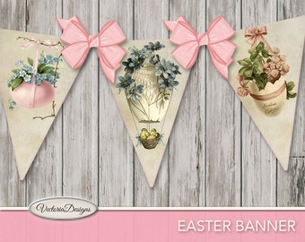 Printable Easter Banner Bunting party banner easter party paper crafting instant download digital collage sheet - VD0722