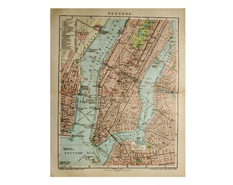 c. 1903 MAP of NEW YORK city -  original vintage print - lithograph of the city of new york - mid town - downtown - central park - usa