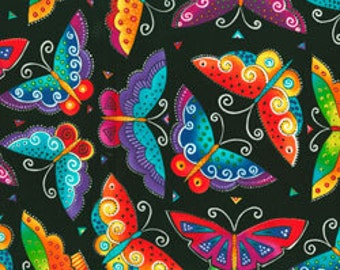 Laurel Burch Fabric Butterflies Black Flying Colors II 1/2 Yard 840-3