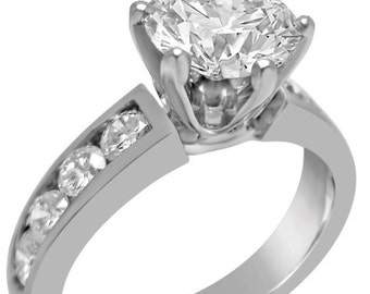 1.71ctw round cut CHANNEL set diamond engagement ring 14k white gold