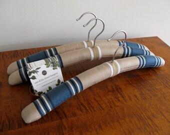 Men's Hangers, Padded Hangers, Ticking Stripe Hangers, Men's Clothing Hangers, Ticking Stripe Hangers for Men, Stripe Hanger Set of 3