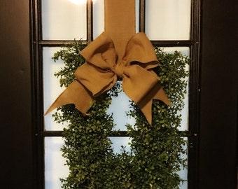 Monogrammed Xmas Wreath Boxwood Wreath Christmas Boxwood Wreath Artifical Boxwood Wreath Door Wteath Boxwood Wreath