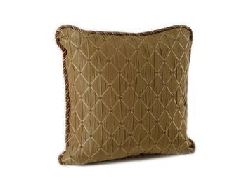 Square Taupe Diamond Pillow with Brown Micro Suede on Back