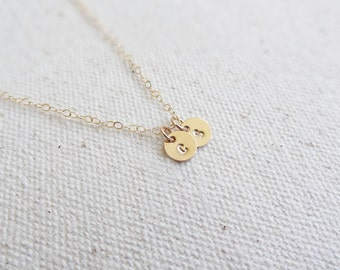 Tiny Initial Necklace - Delicate Necklace - Everyday Necklace - 14k Gold Fill Initial - Hand Stamped Jewelry - Simple Necklace- Gold Initial
