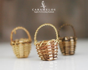 3 Miniature Natural Bamboo Baskets