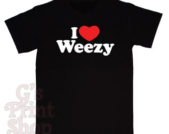 I Love Weezy T Shirt - Lil Wayne - Young Money Entertainment - Urban - Free - Hip Hop - Rap - White & Red