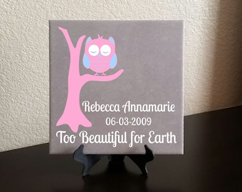 Baby Memorial Decal - Owl on a Branch Too Beautiful for Earth - 8x8 Tile-Size Decal