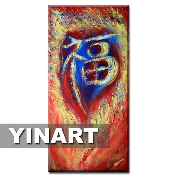 "original large huge Abstract art Landscape painting 24""x48"" on canvas - Chinese Dragon Painting"