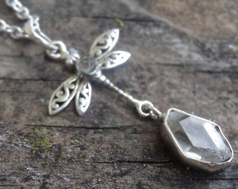 """Dragonfly Herkimer Diamond 925 Sterling Silver Pendant Necklace - 18"""" Sterling Silver Chain - Boho Chic Necklace - Metaphysical Necklace"""