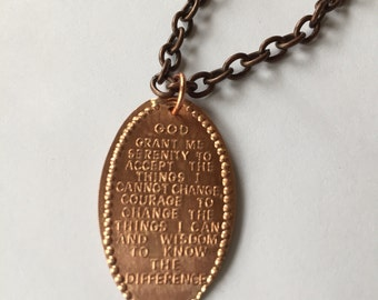 Serenity Prayer Necklace // Sobriety Gift for Men // Recovery Gift // Recovery Jewelry // Addiction Recovery // Copper Chain Necklace