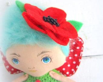 Flower magic doll Red poppy Fairy handmade princess poppy doll OOAK art doll Flower fairy doll gift for her Fairy garden fantasy art doll