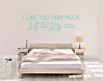 I like you very much, just as you are, Bridget Jones quote, film quotes, romantic quotes, Wall Art Vinyl Decal Sticker