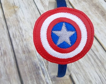 Captain America headband slider with headband, superhero headband, Captain America costume