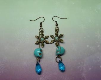 Winter, snowflake earrings, skull, blue, winter, snowflake, earrings, skull, blue