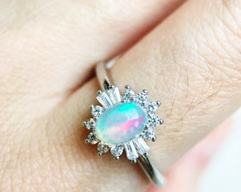 White Opal Ring, Opal Engagement Ring, Ethiopian Welo Opal Ring, Engagement Ring, Genuine Opal, Sterling Silver Opal, Proposal Ring, 925