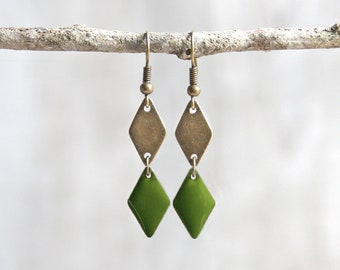 Ethnic earrings, green diamonds. Geometric earrings. Earrings green enamel. Ethnic jewelry