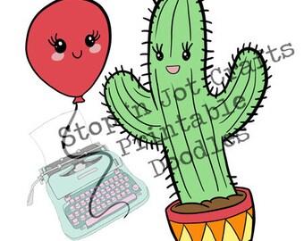 Cactus & Balloon : Love is Love Valentine Clip Art