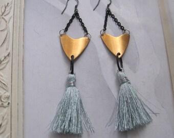Vintage Brass Shield and Pale Blue Tassel Earrings