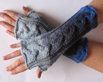 Fingerless Gloves Gray Azure Blue Arm Warmers Knit Soft