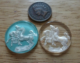RARE Vintage 4 Horse, Horses Incised Clear Frosted Glass Intaglio Cameo 22.5mm, 1 Pc C40