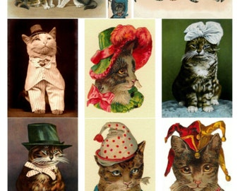 Cats Wearing Hats Collage Sheet, TOO CUTE!, Vintage Illustrations & Photo - Digital Download JPG File by Swing Shift Designs