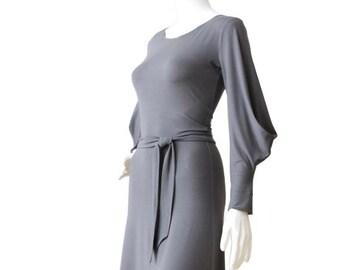Cocktail Dress, Long Sleeve Dress, Grey Dress, A line dress, Draped dress, Winter Dress, Summer Dress, Womens Custom Plus Size Dress, Dress