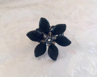 Rings, Jewelry, Crystal, Woman, Girls, Beaded Rings, Flower Rings, Special Occasion,