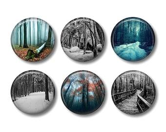Dark forest pinback button badges or fridge magnets, fridge magnet set