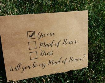 Ask Maid of Honor / Funny Maid of Honor / Maid of Honor Card / Will you be my Maid of Honor / Maid of Honor / Kraft Wedding Card / Wedding