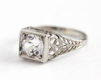 Sale - Filigree Engagement Ring - Created White Sapphire 14k White Gold - Vintage Size 5 Alternative Colorless Fine Flower Jewelry 1.07 CT