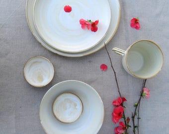 White Dinnerware Set, Stoneware Dinnerware, Pottery Dinnerware, Place Setting, White Dinnerware, Wedding Gift, Handmade Dinnerware, Handmade