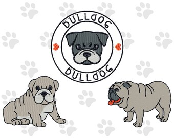 Machine Embroidery Designs-  Bulldog Collection of 3