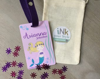 Personalized mermaid id backpack tag, custom name tag, school name tag, custom backpack tag, personalized tag, girl tag, suitcase tag