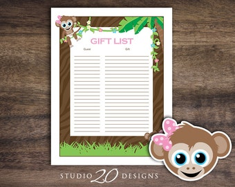 Instant Download Monkey Baby Shower Gift List, Printable Girl Monkey Baby Shower, Pink Monkey Theme Baby Shower Gift Tracking Sheet #58B