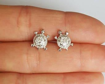Sterling Silver Turtle Earrings, Cubic Zirconia Earrings, Stud Earrings, Birthday Gift, Kids Jewelry, Mother's Gift, Summer Jewelry