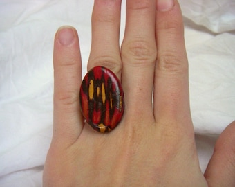Ring fimo ethnic pattern, red, Brown, Golden tones.