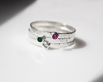 Set of 3 Stacking Birthstone Rings // Sterling Silver with 2mm faceted stone