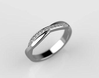 crossover diamond ring, thin diamond ring, criss cross ring, overlap ring, diamond crossover, skinny diamond ring, diamond wedding band