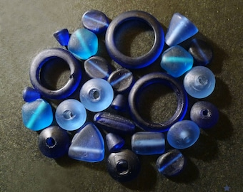 Glass beads handmade frosted blue Indian, lot of 35 pieces