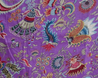 fabric, purple and multicolor cotton, large PAISLEY collection.